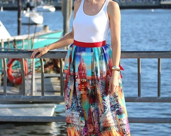 Love Rome Cotton Midi Skirt with Bow Made-to-Measure