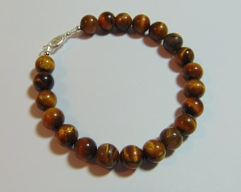 Sterling Silver 8MM Brown Tiger's Eye Bracelet