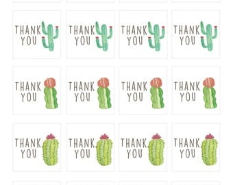 Watercolor Cactus, Cacti, Thank you tags, gift tags, tags, digital download, instant download