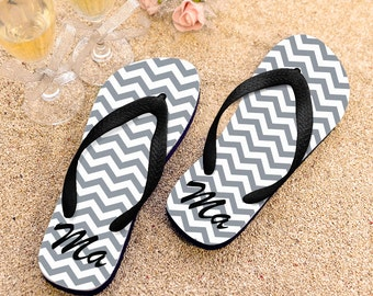 Chevron Personalized Flip Flops, Custom Flip Flops for Girls, Monogram Flip Flops