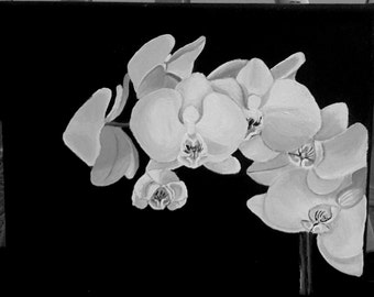 Black and White Orchid Painting
