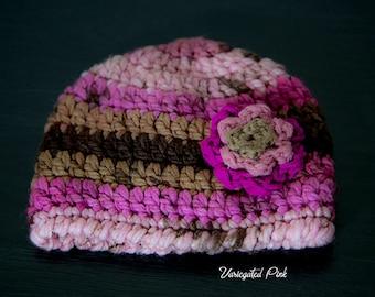 Variegated Pink Flower Hat