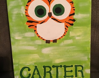 Tiger Owl Personalized Name Painting