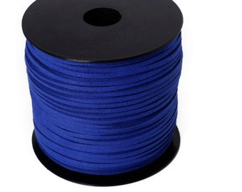 5 Metters Ribbon Royal Blue Suede look dark and lot of colors 3 mm