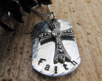 hand stamped Faith necklace//Religious jewelry//Faith necklace//Christian Jewelry//Religious gift//Cross necklace