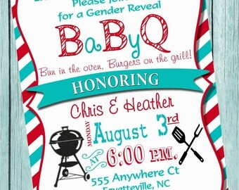 Baby Q Gender Reveal Printable Invitation