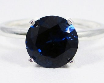 Large Blue Sapphire Solitaire Ring Sterling Silver, September Birthstone Ring, Large Blue Sapphire Solitaire Ring