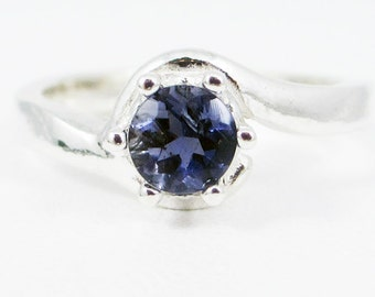 Iolite Bypass Solitaire Ring Sterling Silver, Water Sapphire Ring, Sterling Iolite Ring, Iolite Solitaire Ring, 925 Sterling Silver Ring