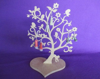 Wood medium 3 mm medium medium 6 mm heart jewelry tree