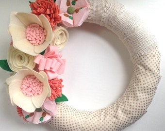 Felt flower wreath • Ribbon wrapped wreath • Polka dot wreath • Front door wreath  • Burlap wreath