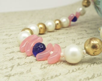 Birthday Cake - Vintage pearls and brass beads with pink and dark blue glass beads