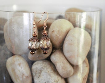 Crystal and bronze dangle earrings