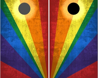 Rainbow Colored LAMINATED Cornhole Wrap Bag Toss Decal Baggo Skin Sticker Wraps