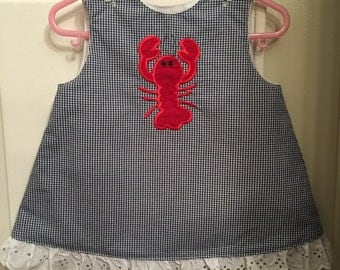 Girl's Navy Gingham A-Line Dress with Crawfish/Lobster Applique...Ready to ship in size 12-18 M!