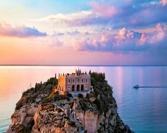 Seascape Photo, Tropea Italy, Calabria Coast, Tropea Photograph,  Italy Wall Decor, Coastal Sunset, Blues Pink Sky, Fine Art Photo