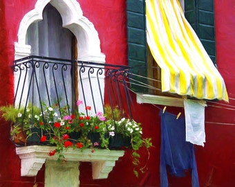 Window Photo, Burano Italy, Burano Windows, Flowers On Balcony, Yellow Striped Awning, Hanging Wash, Red House, Italy Travel