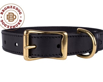 Brass Buckle Dog Collar Black Leather