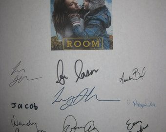 Room Signed Film Movie Script Screenplay Autographs X12 Brie Larson Emma Donoghue Sean Bridgers Lenny Abrahamson William H Macy Joan Allen