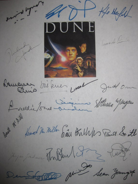 Dune Signed Film Movie Script Screenplay X23 Autograph David Lynch Kyle MacLachlan Sting Sean Young Patrick Stewart  Dean Stockwell Witt