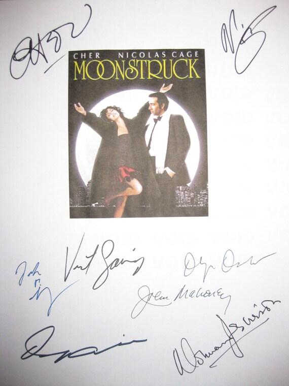 Moonstruck Signed Movie Film Screenplay Script X8 Autographs Cher Nicolas Cage Olympia Dukakis Danny Aiello John Mahoney Norman Jewison