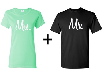 Mr and Mrs Couple T-shirts, valentines day matching clothing, gift for her, gift for him