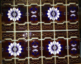 Ceramic glazed brown floral flower mosaic tile sheets.