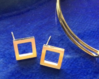 Gold earrings, gold studs, square gold stud earrings,  geometric square studs, square studs, gold studs, gifts for her, best friend gifts,