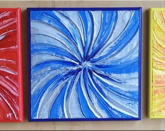 Whirl Trilogy,Abstract Multipart,three divides,multicolored,modelling,acrylic,acrylio,canvas,painting,
