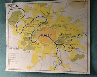 Map geographic vintage Paris/Paris area