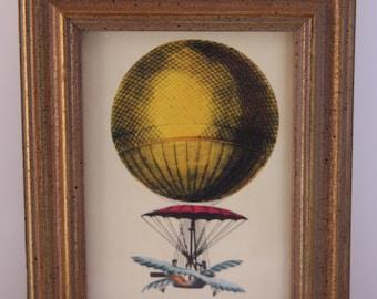 Vintage print, Balloon wall art, small wall art, Hot air balloon wall art print