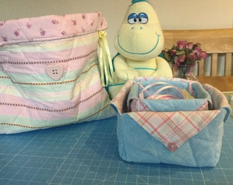 Quilted 100% Cotton Drawstring Bag