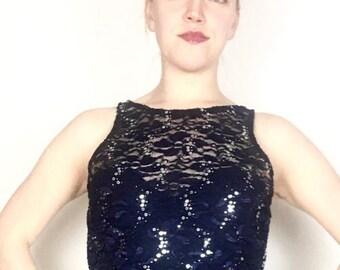 blouse, top, lace top, navy blue lace top, dancewear, sequins