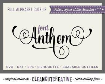 Full Alphabet SVG Fonts Cutfile - Fancy Script cricut font - Studio3 DXF EPS - Silhouette Cameo - commercial use clean cutting digital files