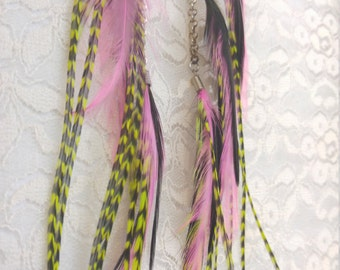 Long Feather Earrings - Handmade - Pink and Green - Feathers and Chain