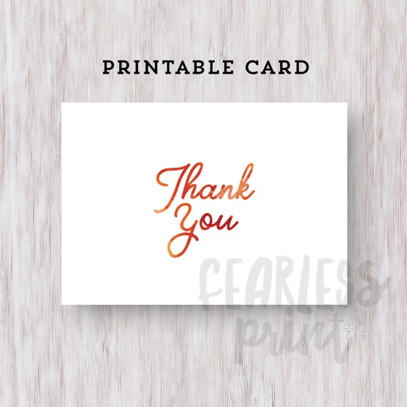 Watercolor Thank You Card Printable | Printable Thank you Card | Watercolor Card Digital | Card | Thank You Note INSTANT DOWNLOAD