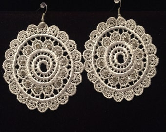 Large Medallion Venise Lace Earrings with Swarovski Crystals