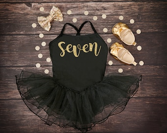 Seven Birthday Girl Tutu Dress | Seven Birthday | Seven Party Outfit | Seven Leotard Dress | Seventh Birthday Tutu | 7th Birthday Outfit