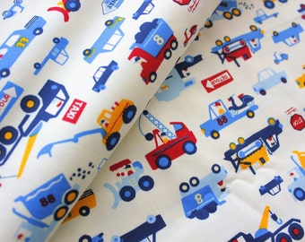 Lecien Fabric, Car Fabric, Truck Fabric, Cotton, Japanese, Boys, Off White, Sewing, Crafting, Materials, Supplies, Half Metre