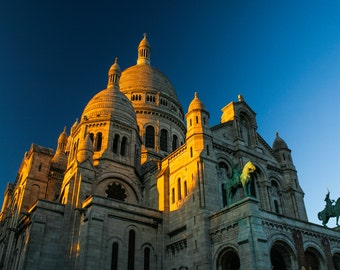 Sunset over Montmartre, Paris. Travel Photography. Fine Art Print. Church Picture. Wall Art. Sacre Coeur Cathedral.