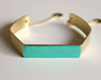 turqouise cuff bracelet / bangle / turquoise leather