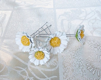 Daisies bobby pins  Decorative hair pins Leather flower Hair pin wedding Daisies leather  jewelry Gift for her Flower Hair Accessories