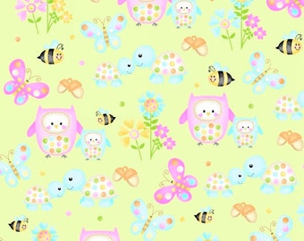 Woodland Cuties - 9975-60 Light Green Owl & Friends by First Blush Studios from Henry Glass