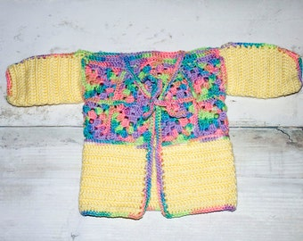 Crocheted toddler sweater, baby sweater, fall sweater, spring sweater, solid and multicolored sweater, baby present, cake smash, photography