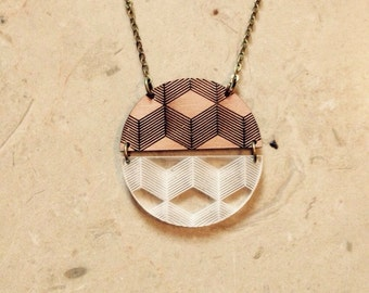 "Necklace ""3D"" in wood and Plexiglas serious long mi"