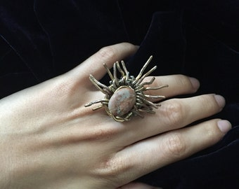 Sunna- a wire and Jasper statement ring, unique item (Size N; can be adjusted)