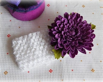 Flower girl head band Newborn headband Violet chrysanthemum Infant headbands Realistic flowers Baby photo prop Lavender purple flowers