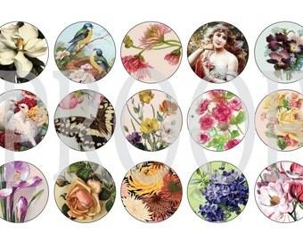 Digital Bottle Cap Image Sheet - Victoria Garden - 1 Inch Digital Collage - Instant Download