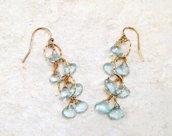 Blue Topaz Cascade Earrings, 14k gold-fill
