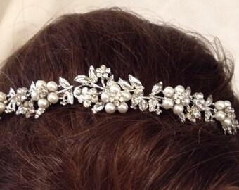 Silver Pearl Flower Headband Tiara
