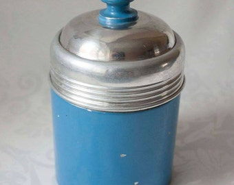 Modernist vintage german thermos for coffee or tea 1960s blue